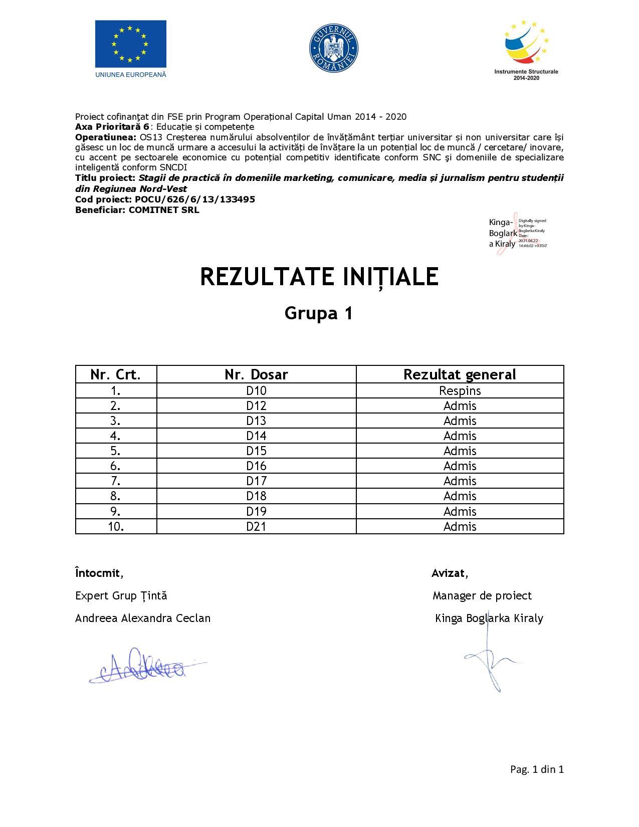 [Stagii de Practică SEO 365] Rezultate inițiale - Grupa I