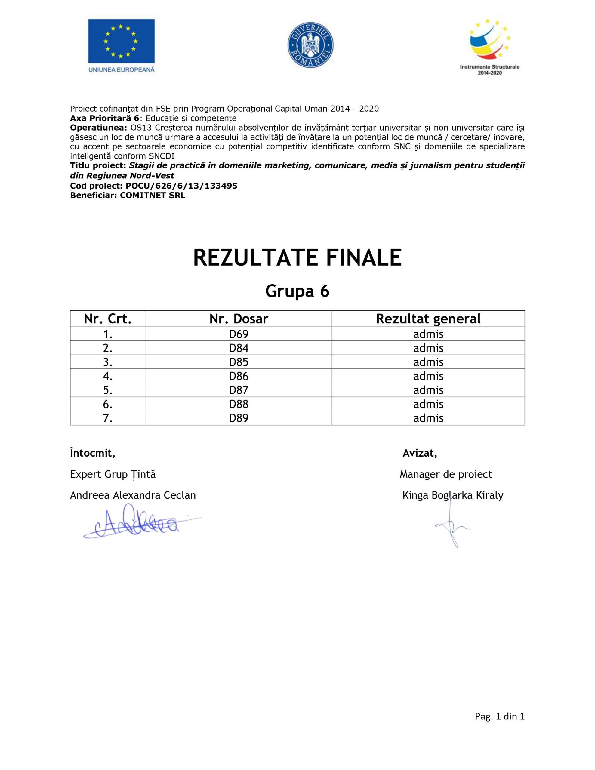 [Stagii de Practica SEO 365] Rezultate finale - Grupa VI - semnat