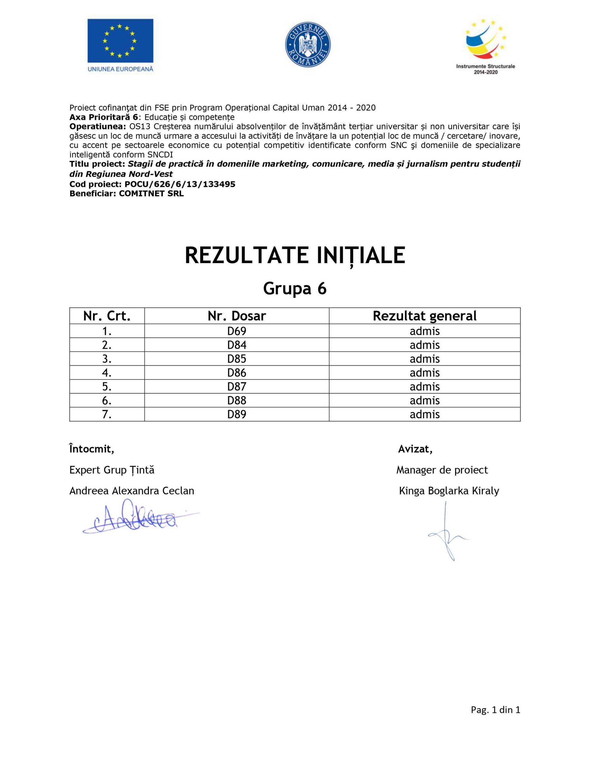 [Stagii de Practică SEO 365] Rezultate inițiale - Grupa VI - semnat